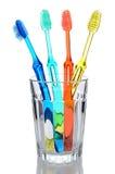 Fyra tandborstar i exponeringsglas Arkivfoton
