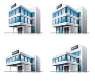 Fyra tecknad filmkontorsbyggnadar. Fotografering för Bildbyråer