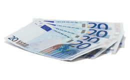 Fyra tjugo eurosedlar Arkivfoton