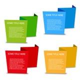 Fyra tomma rumsliga etiketter för färg Arkivfoton