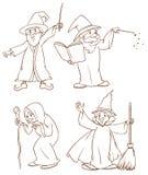 Fyra trollkarlar Arkivfoton