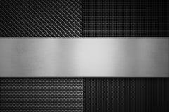 Fyra typer av kolfibertextur med den polska metallplattan på ce arkivbild