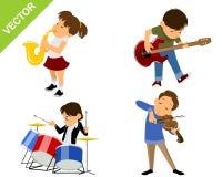 fyra unga musiker Arkivbilder