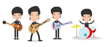 Fyra ungar i en musik sätter band, barn som spelar musikinstrument, personen som spelar olika musikinstrument royaltyfri illustrationer