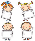 Fyra ungar med tomt tecken royaltyfri illustrationer