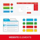 Fyra uppsättningar av rengöringsdukbeståndsdelar för website- och mobilapplikationer Arkivfoto
