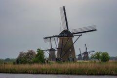 Fyra väderkvarnar i en scenisk miljö på Kinderdijk, Holland fotografering för bildbyråer