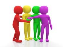Fyra vänner - symbol 3d Arkivfoto