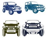 Fyra vektor Jeep Silhouettes royaltyfri illustrationer