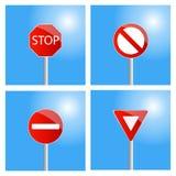 fyra vägmärken Arkivbilder