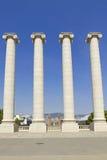 Fyra vita kolonner, Barcelona Arkivbild