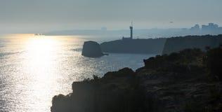 Fyren av Ponta gör altaret Lagoa, Portugal Arkivfoton
