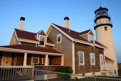 fyren massachusetts för udd för 1816 fyrar upprättade första historiska ljusa var den torsk ett torn för rubblestone för punktrac Arkivbilder