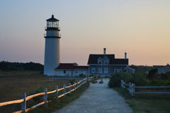 fyren massachusetts för udd för 1816 fyrar upprättade första historiska ljusa var den torsk ett torn för rubblestone för punktrac Arkivbild
