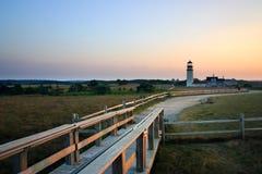 fyren massachusetts för udd för 1816 fyrar upprättade första historiska ljusa var den torsk ett torn för rubblestone för punktrac Arkivfoto