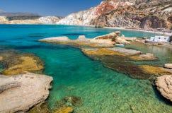 Fyriplaka海滩,芦粟海岛, Cyclades,希腊 图库摄影