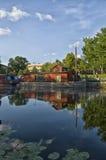 Fyris flod i Uppsala, Sverige Arkivbilder