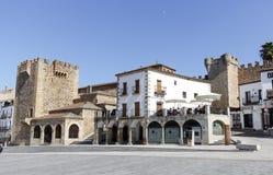 Fyrkant av Caceres Extremadura Spanien Royaltyfri Fotografi