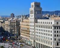 Fyrkant av Catalonia, Barcelona Fotografering för Bildbyråer