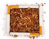 Fyrkant av cigaretter och tobak Royaltyfri Bild