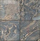 Fyrkant av fyra polerade tegelplattor för marmorsärdragvägg royaltyfria foton