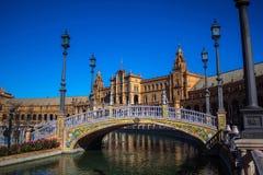 Fyrkant av Spanien i Seville, Spanien Arkivfoton