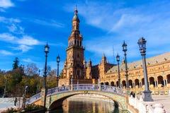 Fyrkant av Spanien i Seville, Spanien December 22 royaltyfri bild