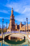 Fyrkant av Spanien Plaza de Espana, Seville, Spanien royaltyfri foto