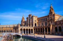 Fyrkant av Spanien Plaza de Espana, Seville, Spanien arkivfoto