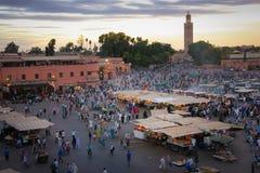 fyrkant för djemaael-fna marrakesh morocco royaltyfria bilder