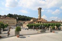 Fyrkant för Florence Italien sommarstad Arkivbild