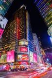 Fyrkant för gataplats tidvis på natten i Manhattan, New York City Arkivbilder