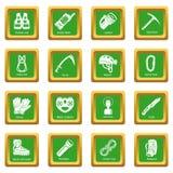 Fyrkant för gräsplan för uppsättning för speleologiutrustningsymboler royaltyfri illustrationer