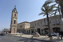 Fyrkant för klockatorn i gamla Yaffo, Israel royaltyfri foto