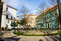 Fyrkant för Largoda Graça i Lissabon, Portugal Fotografering för Bildbyråer