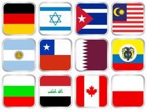 fyrkant för symbol för 4 flaggor set vektor illustrationer