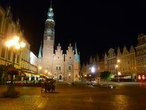 Fyrkant för Wroclaw gammal stadmarknad på natten Royaltyfri Bild