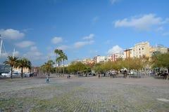 Fyrkant för plommonde Miquel Tarradell i Barcelona Arkivfoto