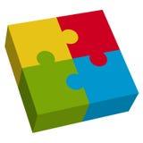 fyrkant för pussel 3d Fotografering för Bildbyråer