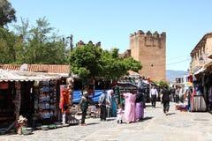 Fyrkant i Chefchaouen, Marocko Fotografering för Bildbyråer