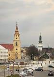 Fyrkant i den Zvolen staden slovakia arkivbilder