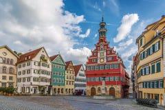 Fyrkant i Esslingen f.m. Neckar, Tyskland arkivfoto
