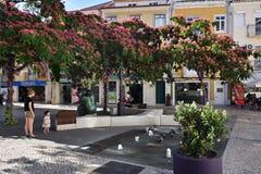 Fyrkant i Setubal, Portugal arkivfoton
