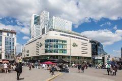 Fyrkant i staden av den Frankfurt strömförsörjningen Royaltyfria Bilder