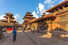 Fyrkant som är durbar i Patan, forntida stad i Kathmandu Valley Royaltyfri Foto
