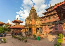Fyrkant som är durbar i Patan, forntida stad i Kathmandu Valley Arkivfoton