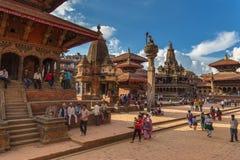 Fyrkant som är durbar i Patan i Kathmandu Valley Royaltyfria Foton