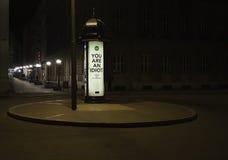 Fyrkant vid natt och gataannonseringen Royaltyfri Fotografi