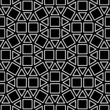 Fyrkanten för modellen för geometri för vektorhipsterabstrakt begrepp, svartvit sömlös geometrisk bakgrund, den subtila kudden oc Royaltyfri Bild