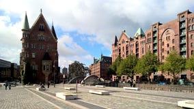 Fyrkanten i Hamburg, Speicherstadt fotografering för bildbyråer